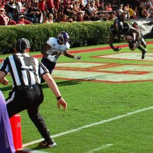 ECU's red zone problems at South Carolina started in the first half. South Carolina's Jamarcus King was credited with an interception in the end zone on this pass from Philip Nelson intended for Jimmy Williams with 5:37 left before halftime. (Photo by Al Myatt)