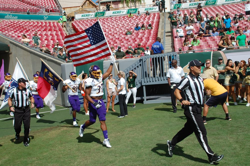 Trevian Hicks brings the colors into Raymond James Stadium for the Pirates.