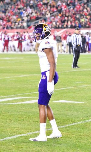 Zay Jones became the Football Bowl Subdivision single season catches leader in the second quarter of East Carolina's American Athletic Conference game at Temple on Saturday evening, Nov. 26, 2016. (Photo by Al Myatt)