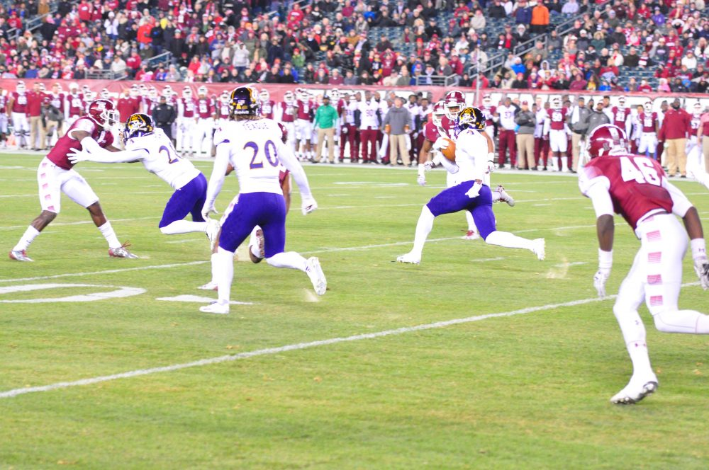 Shawn Furlow of the Pirates returned the opening kickoff 37 yards to the ECU 42, setting the stage for a drive that gave the Pirates a 7-0 lead on a touchdown from Gardner Minshew to Jimmy Williams. (Al Myatt photo)