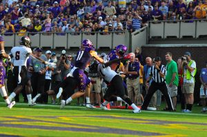 ECU quarterback Holton Ahlers scampers in to the end zone for the Pirates first score of the evening. The Greenville product rushed for 85 yards and two touchdowns in a 48-9 win over Gardner-Webb. (W.A. Myatt photo)
