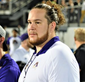 Garrett McGhin, a senior captain in 2018, came from his hometown of Tallahassee, to be on the Pirate sideline (Al Myatt photo)