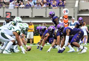 The ECU defensive line is ready to launch in the AAC matchup with South Florida. (Photo by Al Myatt)
