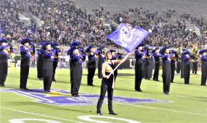 The East Carolina marching band performed before the game. (Photo by Al Myatt)
