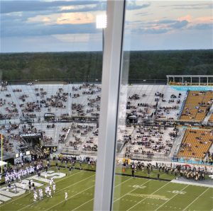 There was a possibility of showers in the forecast, but rain was holding off at Spectrum Stadium as the Pirates warmed up (Al Myatt photo)