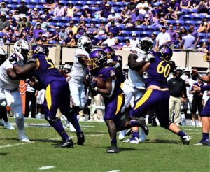 Rahjai Harris ran for 70 yards on 14 carries for the Pirates.